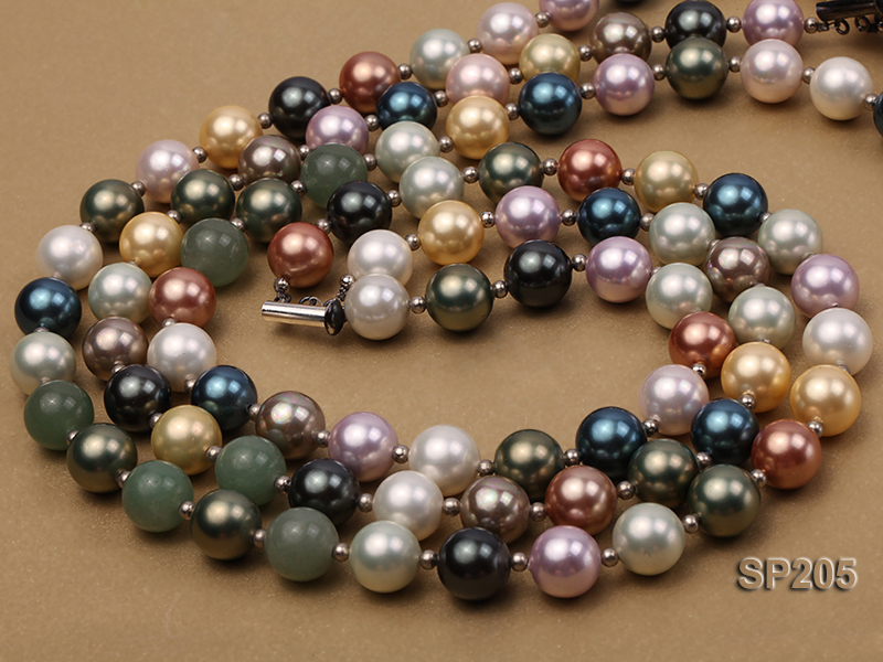 12mm luxurious seashell pearl and green jade three-strand necklace big Image 2