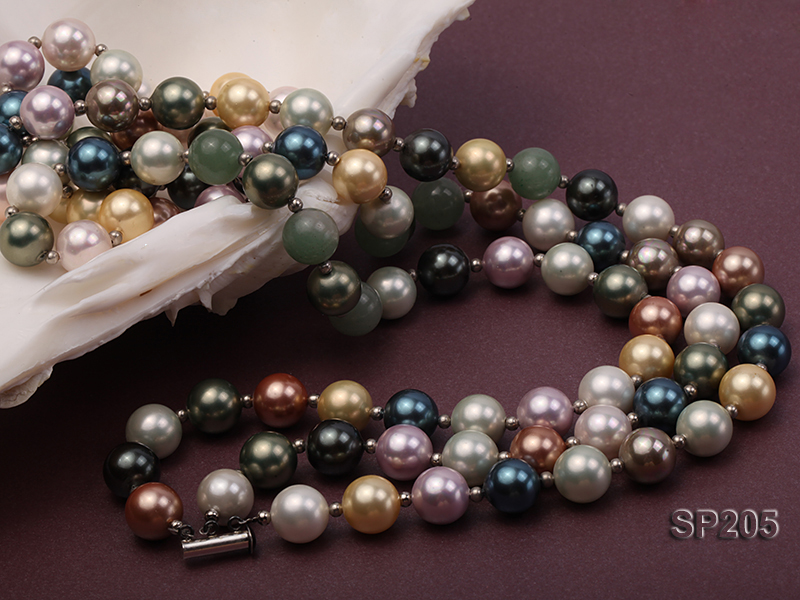 12mm luxurious seashell pearl and green jade three-strand necklace big Image 3