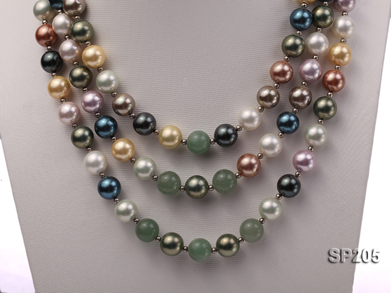 12mm luxurious seashell pearl and green jade three-strand necklace big Image 6