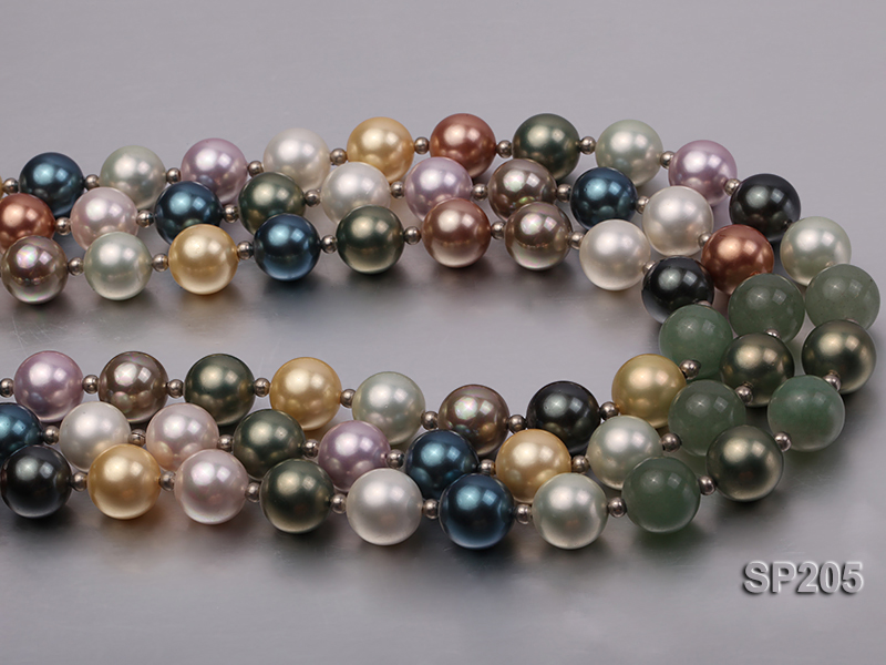 12mm luxurious seashell pearl and green jade three-strand necklace big Image 7