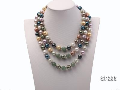 12mm luxurious seashell pearl and green jade three-strand necklace SP205 Image 1