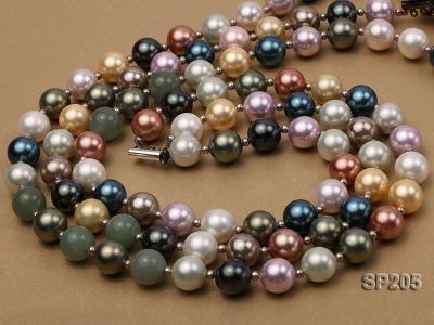 12mm luxurious seashell pearl and green jade three-strand necklace SP205 Image 2