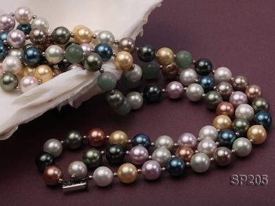12mm luxurious seashell pearl and green jade three-strand necklace SP205 Image 3
