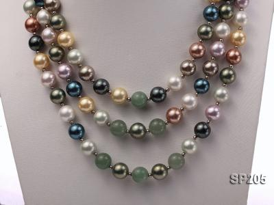 12mm luxurious seashell pearl and green jade three-strand necklace SP205 Image 6