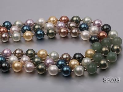12mm luxurious seashell pearl and green jade three-strand necklace SP205 Image 7