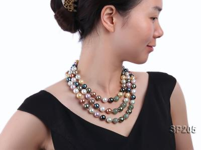 12mm luxurious seashell pearl and green jade three-strand necklace SP205 Image 4