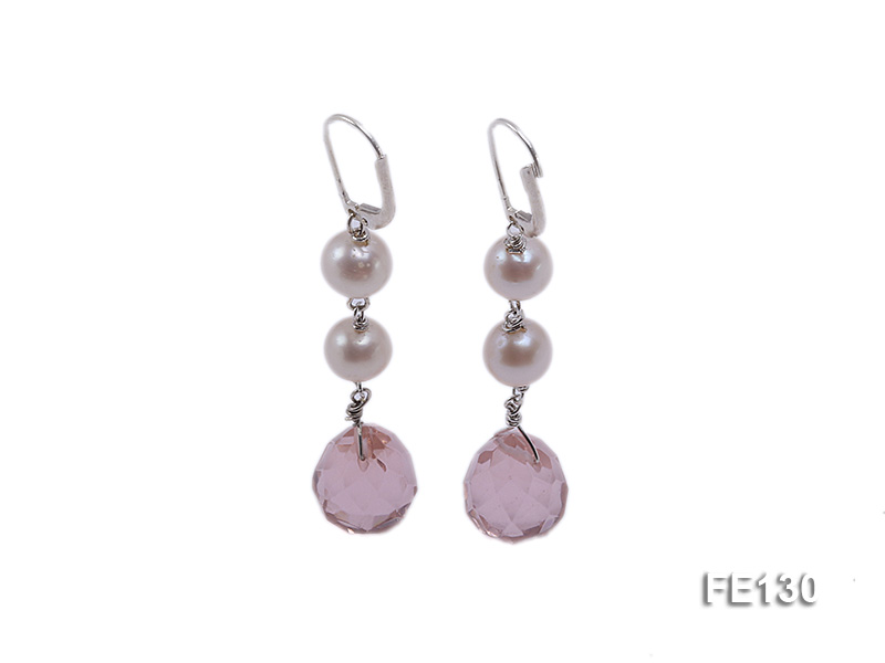 7.5mm White Freshwater Pearl & Lavender Drop-shaped Crystal Earrings big Image 1
