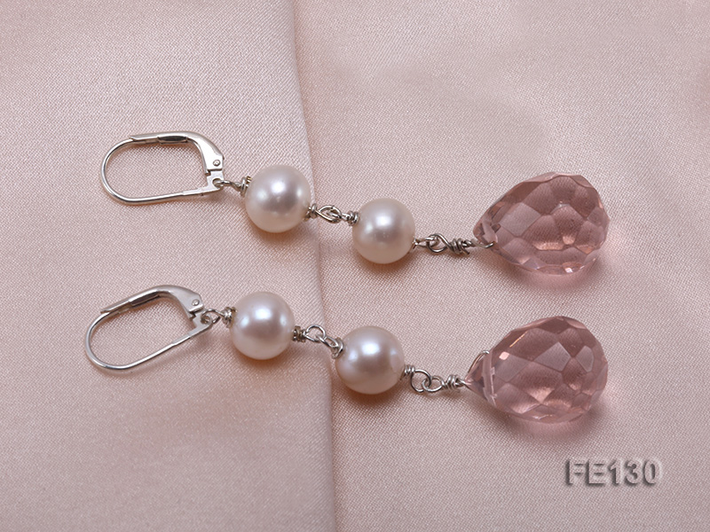 7.5mm White Freshwater Pearl & Lavender Drop-shaped Crystal Earrings big Image 2