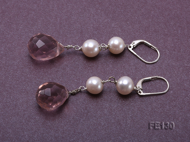 7.5mm White Freshwater Pearl & Lavender Drop-shaped Crystal Earrings big Image 3
