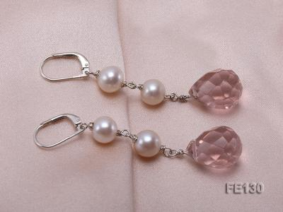 7.5mm White Freshwater Pearl & Lavender Drop-shaped Crystal Earrings FE130 Image 2