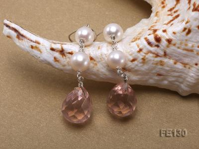 7.5mm White Freshwater Pearl & Lavender Drop-shaped Crystal Earrings FE130 Image 4