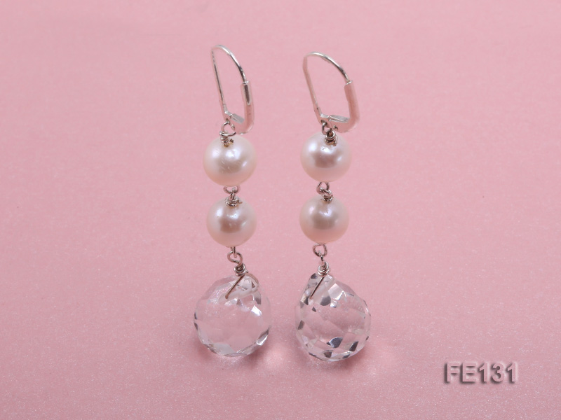 7.5mm White Freshwater Pearl & White Drop-shaped Crystal Earrings big Image 1