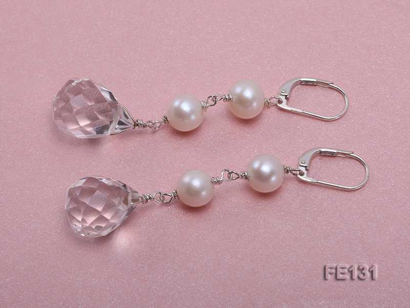 7.5mm White Freshwater Pearl & White Drop-shaped Crystal Earrings big Image 2