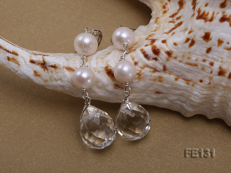 7.5mm White Freshwater Pearl & White Drop-shaped Crystal Earrings big Image 3