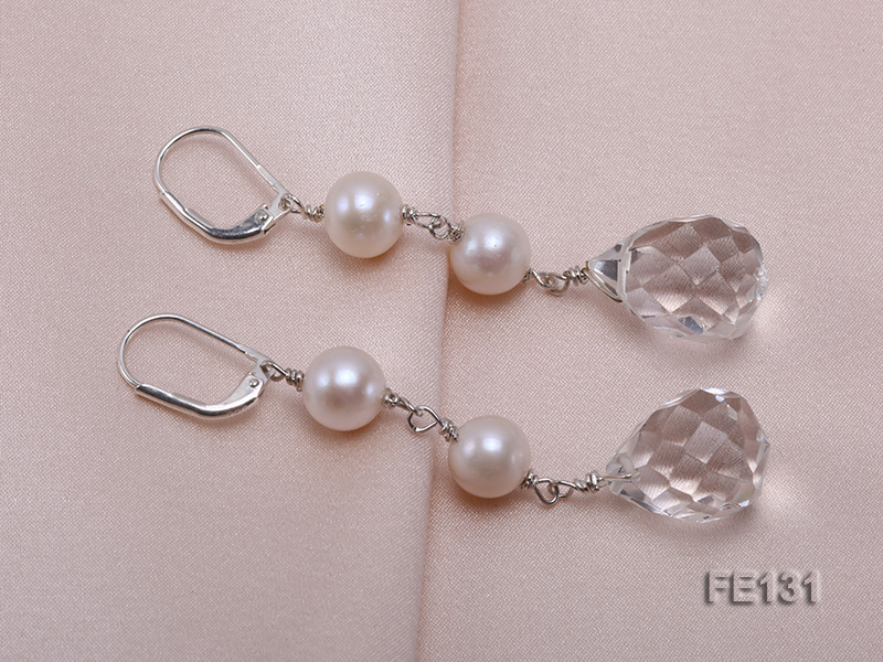 7.5mm White Freshwater Pearl & White Drop-shaped Crystal Earrings big Image 4