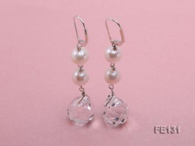 7.5mm White Freshwater Pearl & White Drop-shaped Crystal Earrings FE131 Image 1