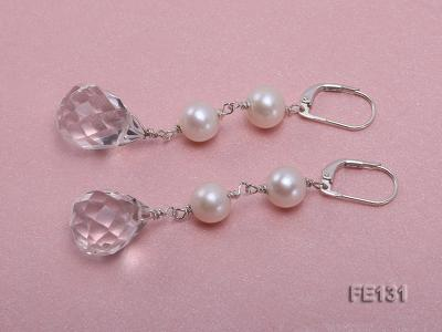 7.5mm White Freshwater Pearl & White Drop-shaped Crystal Earrings FE131 Image 2