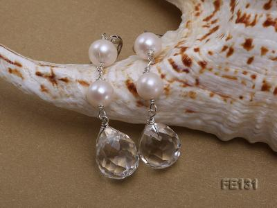 7.5mm White Freshwater Pearl & White Drop-shaped Crystal Earrings FE131 Image 3
