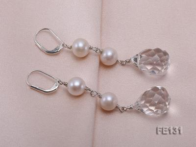7.5mm White Freshwater Pearl & White Drop-shaped Crystal Earrings FE131 Image 4