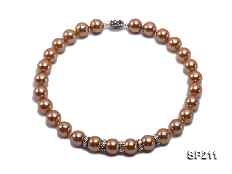 Stunning 14mm coffee round seashell pearl necklace big Image 1