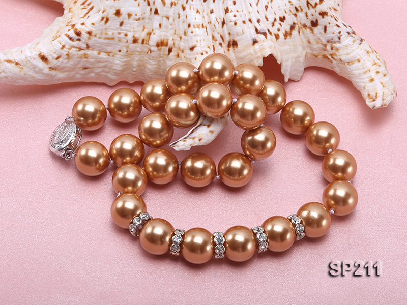 Stunning 14mm coffee round seashell pearl necklace big Image 3