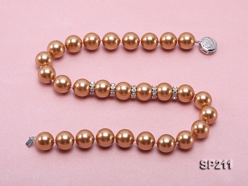 Stunning 14mm coffee round seashell pearl necklace big Image 4