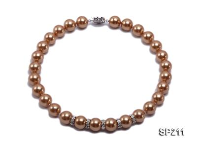Stunning 14mm coffee round seashell pearl necklace SP211 Image 1