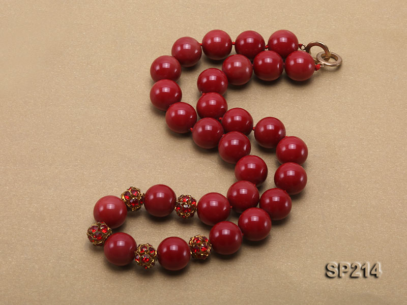 14mm red round seashell pearl necklace with shiny zircon big Image 2