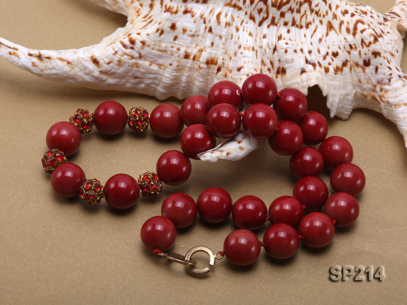 14mm red round seashell pearl necklace with shiny zircon big Image 3