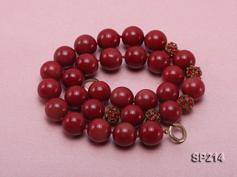 14mm red round seashell pearl necklace with shiny zircon big Image 4
