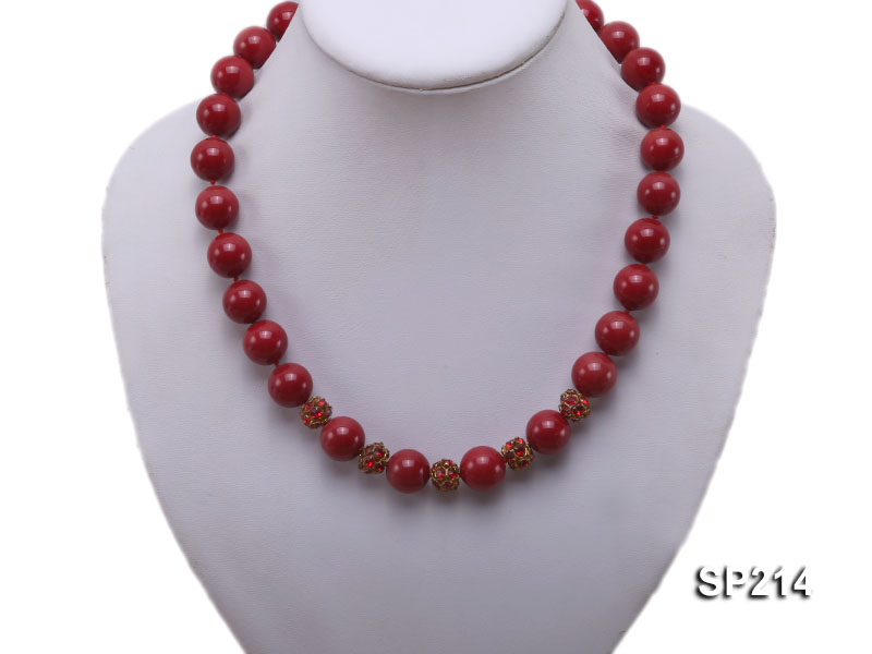 14mm red round seashell pearl necklace with shiny zircon big Image 5