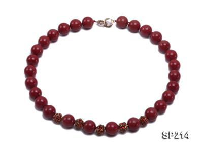 14mm red round seashell pearl necklace with shiny zircon SP214 Image 1
