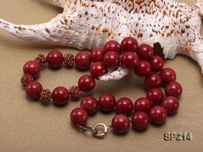 14mm red round seashell pearl necklace with shiny zircon SP214 Image 3