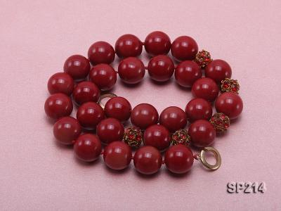 14mm red round seashell pearl necklace with shiny zircon SP214 Image 4
