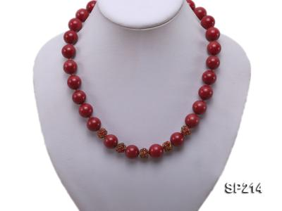 14mm red round seashell pearl necklace with shiny zircon SP214 Image 5