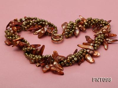 Tooth-shaped Breen Flat Freshwater Pearl Necklace and Bracelet Set FNT098 Image 3