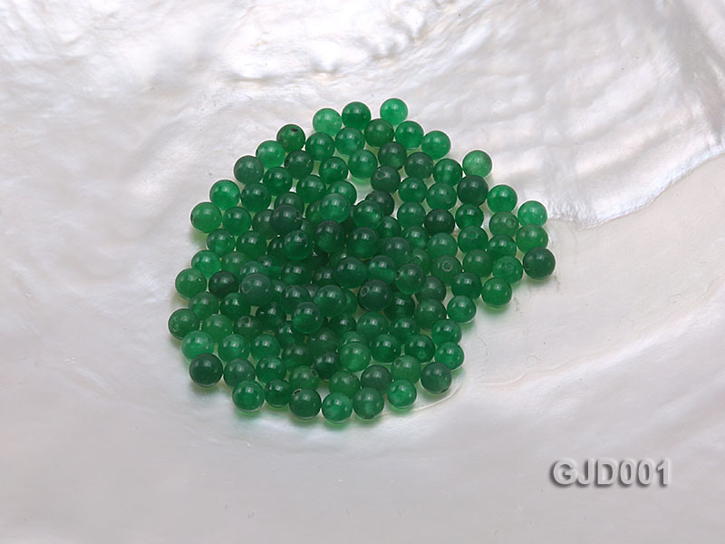 Wholesale 4mm Round Green Jade Beads  big Image 1
