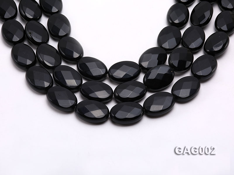 wholesale 18x25mm black faceted oval shape agate strings big Image 1