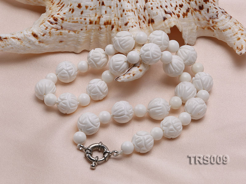 8mm &14mm Round White Tridacna Beads Necklace big Image 2