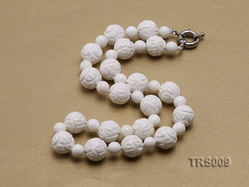 8mm &14mm Round White Tridacna Beads Necklace big Image 3