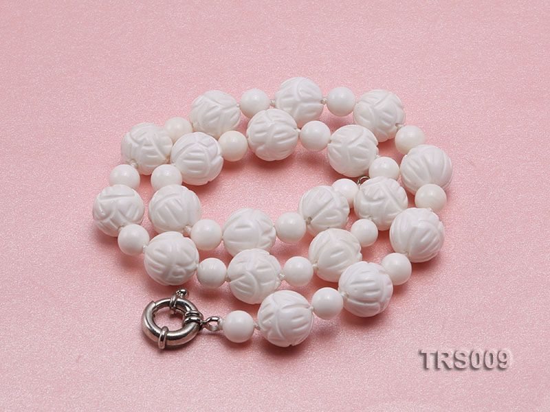 8mm &14mm Round White Tridacna Beads Necklace big Image 4