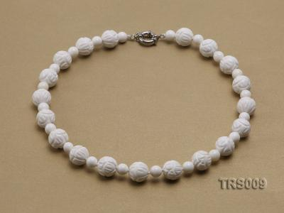 8mm &14mm Round White Tridacna Beads Necklace TRS009 Image 1