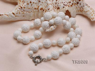 8mm &14mm Round White Tridacna Beads Necklace TRS009 Image 2