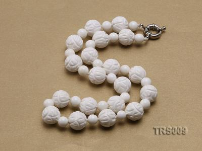 8mm &14mm Round White Tridacna Beads Necklace TRS009 Image 3