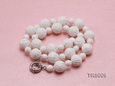 8mm &14mm Round White Tridacna Beads Necklace TRS009 Image 4