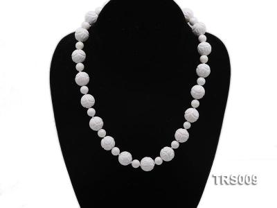 8mm &14mm Round White Tridacna Beads Necklace TRS009 Image 5