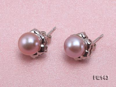 8-9mm Lavender Flat Cultured Freshwater Pearl Earrings FE143 Image 2