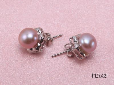 8-9mm Lavender Flat Cultured Freshwater Pearl Earrings FE143 Image 3