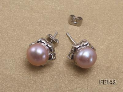8-9mm Lavender Flat Cultured Freshwater Pearl Earrings FE143 Image 4