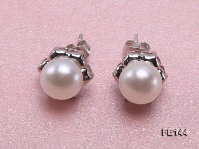 8-9mm White Flat Cultured Freshwater Pearl Earrings FE144 Image 1